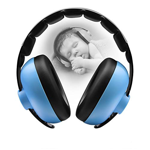 BBTKCARE Baby Ear Defender Noise Canceling Headphones for Kids Noise Reduction Earmuffs Adjustable Headband Hearing Protection for 3 Months to 2 Years Baby/Toddlers (Blue)