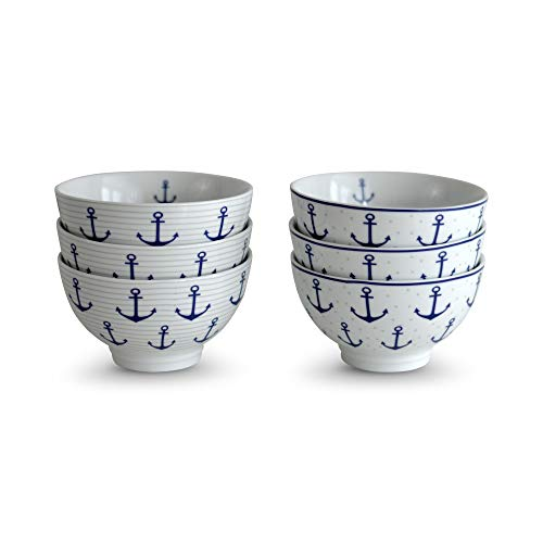 Beach Chic Anchor Rice Bowls, Set of 6, Nautical Blue and White, Gray Details, 3 with Dots, 3 With Stripes, Footed Base, Porcelain, Dishwasher Safe, 8 Fluid Ounces, 5 1/2 Diameter x 3 1/4 Inches Tall.