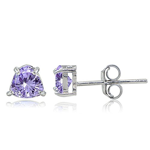 Sterling Silver Genuine Amethyst Trillion-Cut Stud Earrings