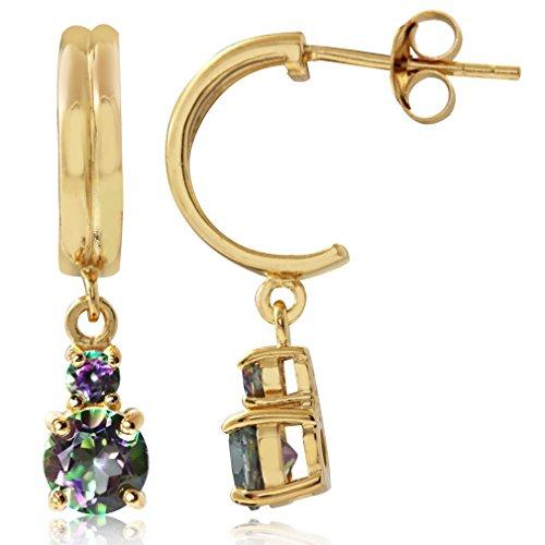 - 1.66ct. Mystic Fire Topaz 14K Gold Plated 925 Sterling Silver C-Hoop Dangle Earrings