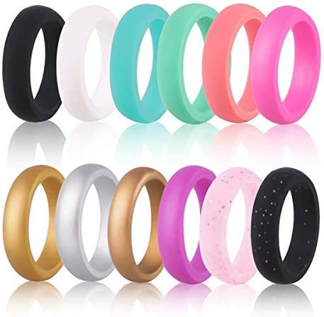 4Pcs Silicone Wedding Ring Mens Womens Rubber Band Durable Flexible Comfortable