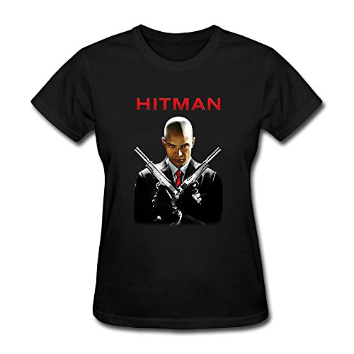 Rong'c Women's Hitman Agent 47 Movie Cotton T-shirt Black XS
