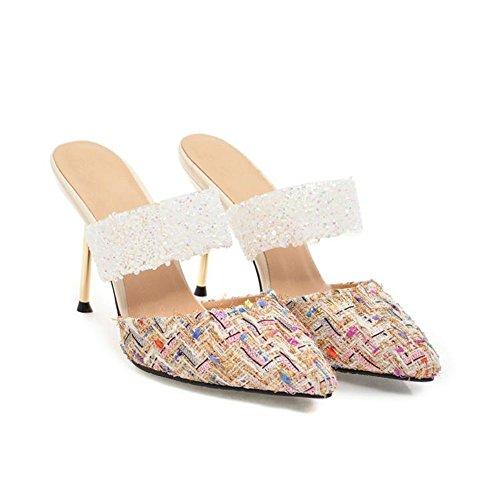 con dimensioni CN38 Colore Estate 5cm Pantofole UK5 da 02 9 3 Moda donna tacco Scarpe EU38 alto stoffa Opzionale col Materiale colori altezza FEIFEI 5 01 di q4w1pZxC