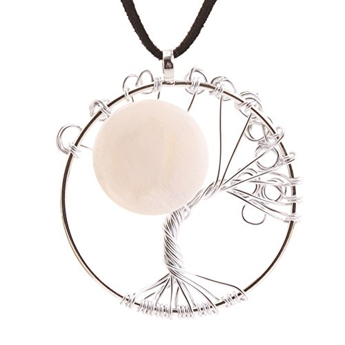 Winter's Secret Silver Color the Sun Shell Tree of Life Creative Time Gem Necklace with Hand-made Woven Pendant