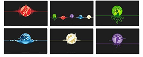 Max-Pro + ALL 6 ICONIC ELEMENTAL Playmats for MTG Mana FORCE OF WILL Pokemon by Max Protection