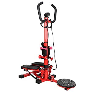Adjustable Mini Stepper Burn Calories Exercise Equipment Aerobic Exerciser with Armrests Twisting Action Pedal and Resistance Bands