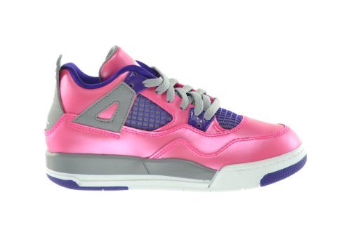 Girls Jordan 4 Retro PS Little Kids Basketball Sneakers Pink/White-Cement Grey-Electric Purple 487725-607-2.5 (Cement Iv White Jordan)