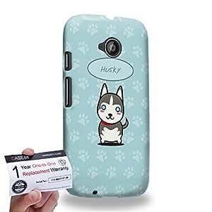 Case88 [Motorola Moto E (2nd Gen)] 3D impresa Carcasa/Funda dura para & Tarjeta de garantía - Art Hand Drawing Husky Cartoon Puppy