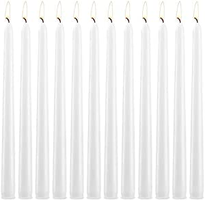 12 Pcs White Taper Candles, Long Household Candles Tall Taper Candles Dripless for Couples, Parties, Wedding, Home Decoration, Dinner, Christmas - 10 inch Unscented 7.5 Hour Long Burning
