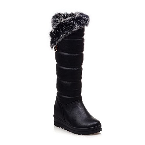 Women's Closed Round Toe Kitten Allhqfashion Heels Pu Boots Solid Black Pull On dwXIwtqWxU