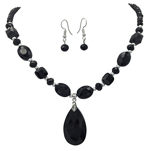 All Glass Simple Beaded Teardrop Dangle Statement Necklace Earrings Set (Black)