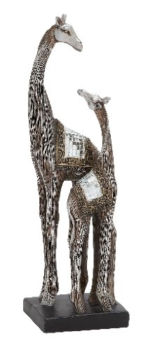 (Benzara Showpiece Double Polystone Giraffe with Mirror Mosaic Rug Design Attached on Their Back)