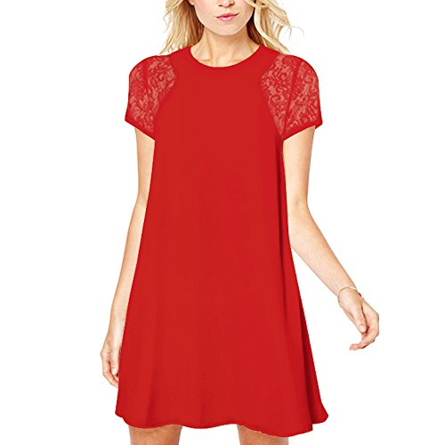 YunJey Women's Short Sleeve Keyhole Back Lace Shift Dress