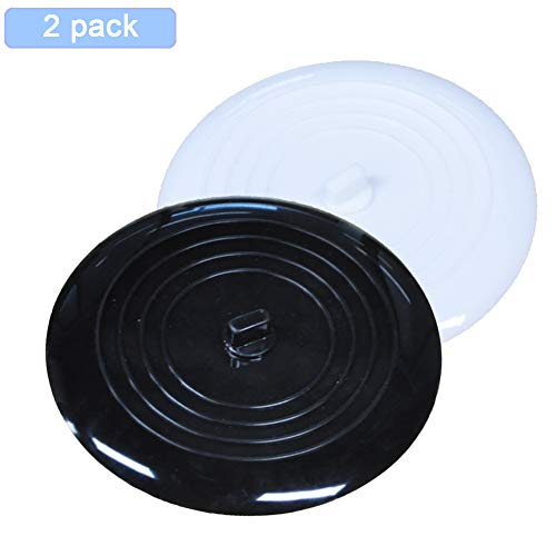 NRGready Tub Stopper 6 inches Silicone Bathtub Stopper Recyclable Drain Plug Cover for Kitchen, Bathroom and Laundry (Black+White)