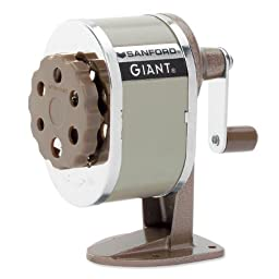 Sanford 51131CX Giant Pencil Sharpener, Table or Wall-Mounted, Tan, Six-position Guide, Point Stop