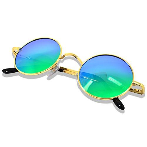 UV lente Retro sol Unisex disponible de hombres Protección de Gafas bisagra mural 400 para primavera Verde Redondas de WHCREAT espejo Polarizado de Dorado marco mujeres qxwYzHndA