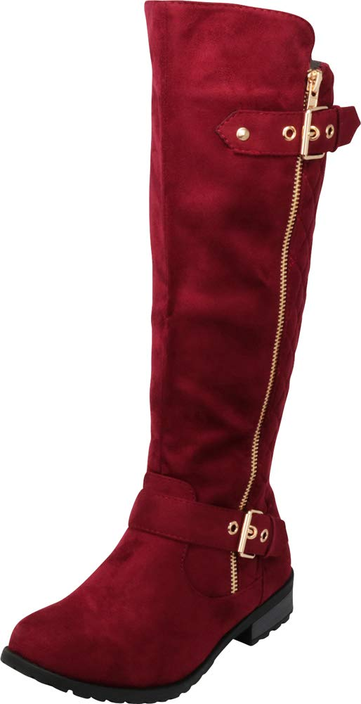 Cambridge Select Women's Quilted Side Zip Knee High Flat Riding Boots,9 M US,Wine IMSU