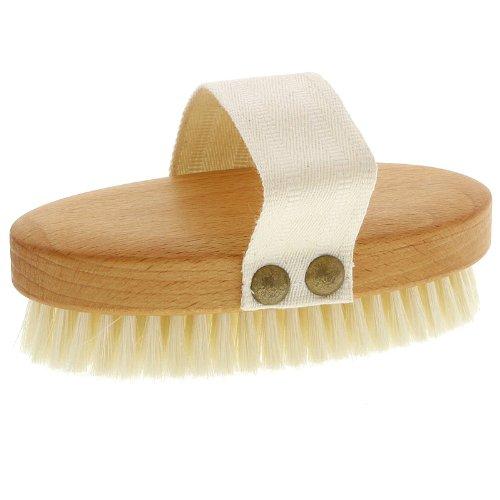 Weiche Kosmetex Badebürste, Massagebürste, Buchenholz mit Gurt, Trockenmassage Massagebürste