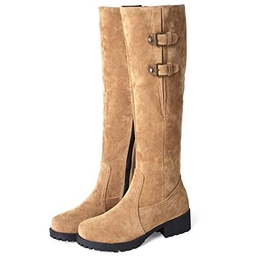 Chaudes Taoffen Eclair Boots Hiver Chevalier Femmes Bottes Jaune Fermeture De warm Hautes fEqE7wxr