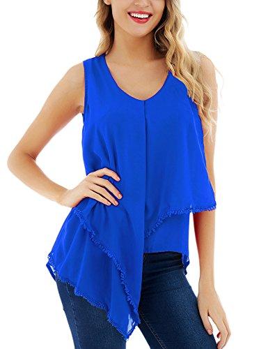 FISOUL Womens Summer Tank Top Sleeveless V Neck Chiffon Shirt Flowy Tunic Tank Royal Blue ()