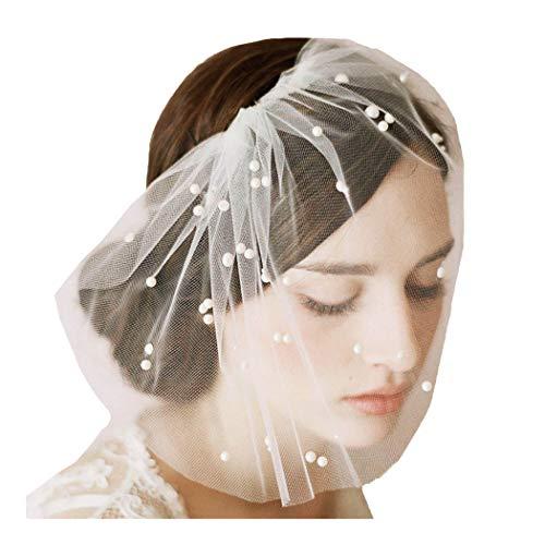 Fstrend Bridal Wedding Veil Bridal Pearl Birdcage Veil