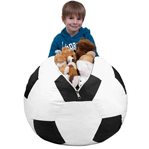Stuffed Animal Storage Bean Bag Chair in Soccer Ball Pattern