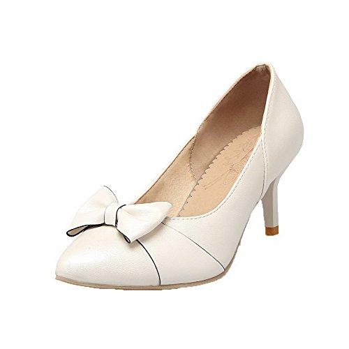 Spitze Frauen Odomolor Schuhe Heels High Mikrofaser Weiß Pumps zTwq6f