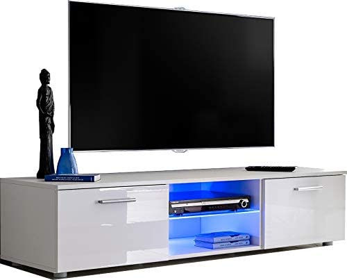 Mueble de TV moderno de 150 cm, estante de cristal con LED azul, puertas de alto brillo, espacio de almacenamiento, pantalla de hasta 60 pulgadas, orificios de gestión de cables, 2 espacios
