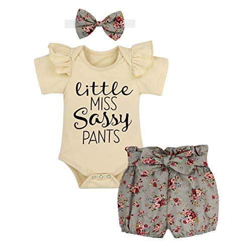 Newborn Baby Girls Clothes Cute Baby Girl Clothes Ruffle Sleeveless Romper + Floral Pants + Headband Summer Outfit 3Pcs Set