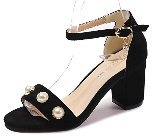 Aisun Women's Fashion Faux Suede Ankle Strap Beads Sandals Shoes Black 3h6zvXIeED