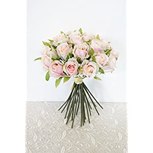 Sweet Home Deco 6''W Supper Real Lovely Rose Artificial Flower Bouquet (20 Flower Heads) for Wedding/Home/Craft Flowers 7