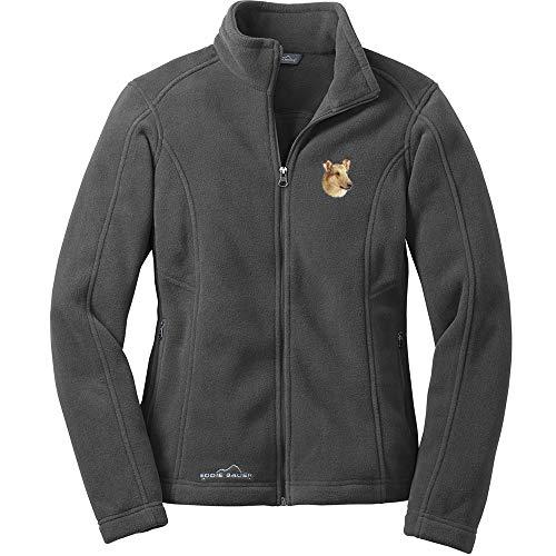 - Cherrybrook Dog Breed Embroidered Ladies Eddie Bauer Fleece Jacket - Small - Gray Steel - Collie
