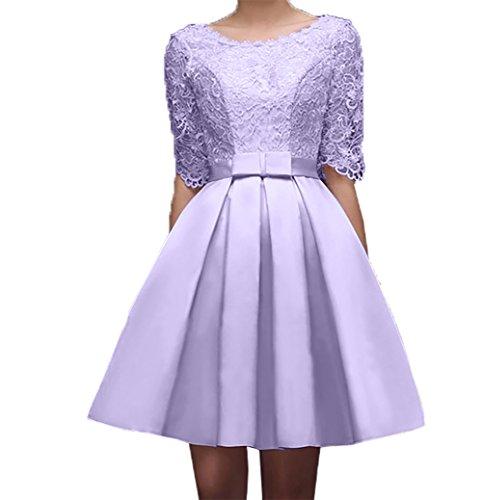Promkleider Ballkleider Spitze Lilac Festlichkleider Kurzarm Abendkleider Knielang Partykleider Charmant Damen Suessig wqH7x0vp