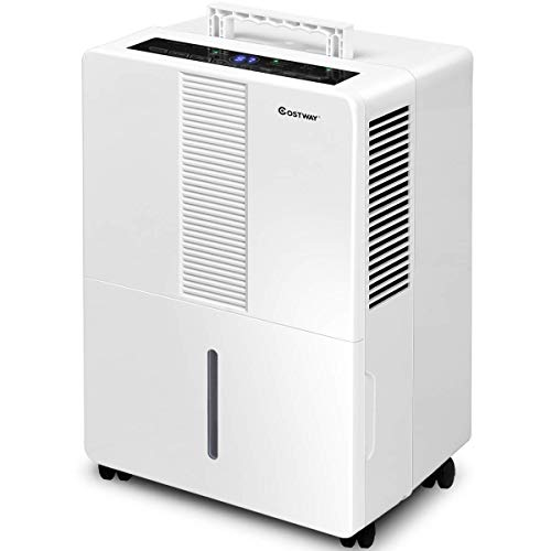 Cheap COSTWAY Portable Dehumidifier 50 Pint for Basements Bathrooms Rooms up to 3000 Sq.Ft. with Wheels and Drain Hose Outlet to Remove Odor and Allergens (50 Pint)