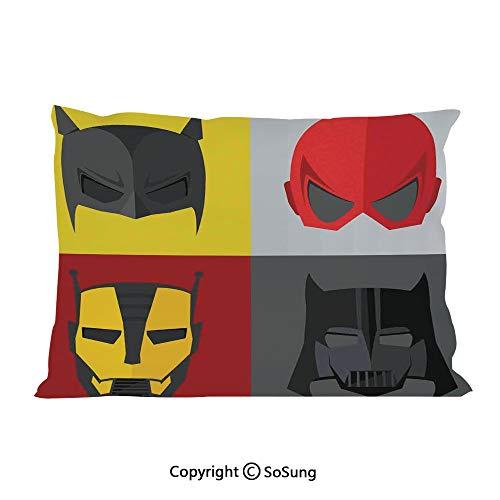 SoSung Superhero Bed Pillow Case/Shams Set of 2,Masks