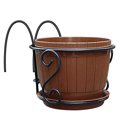 big-time Iron Art Hanging Baskets Flower Pot Holder with Plastic Pots, European Railing Plant Pot Holder for Patio Balcony Porch Fence Indoor Outdoor Decoration