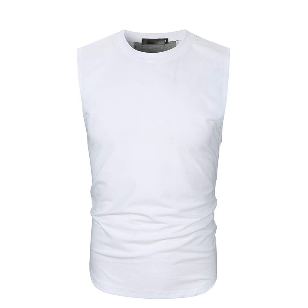 Pervobs Men Solid Slim Fit Active Sports Tops Vest Summer Short Sleeve Crew Neck T-Shirt Tee Top Blouse Vest Tank(2XL, White) by Pervobs Mens T-Shirts (Image #4)