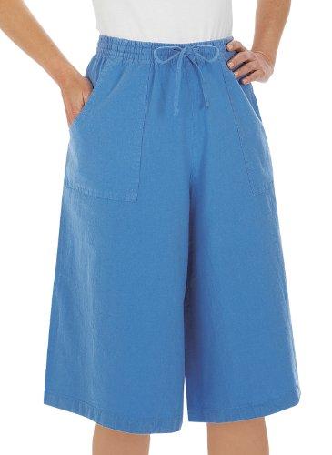 (Cotton Split Skirt, Blue, Size Large)