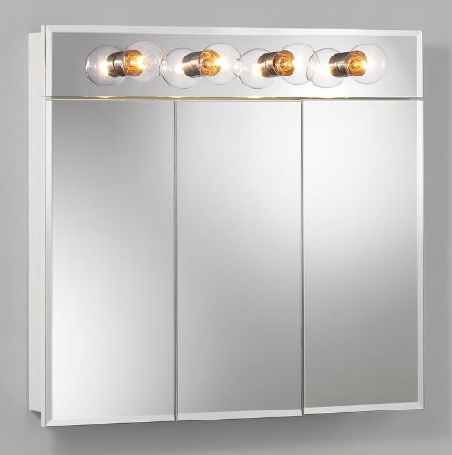 picture of NuTone 755435 Tri-View with Four Bulb Light Frameless Beveled Classic White Medicine Cabinet