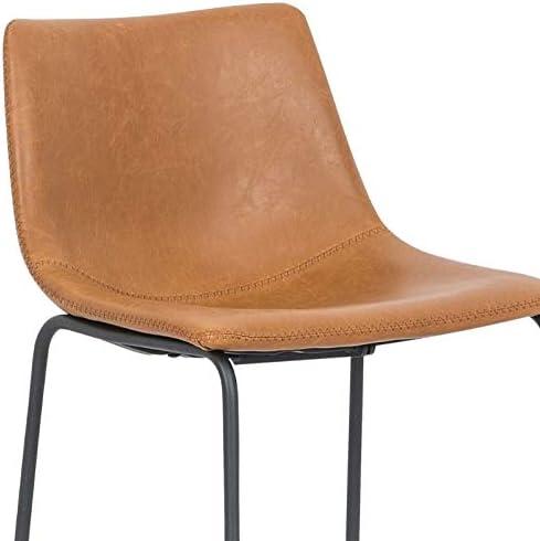 26H Take Me Home Furniture TMH-NEKS-04 Burson Armless Stool Set of 2 Tan Faux Leather with Black Metal Legs Bar Stool