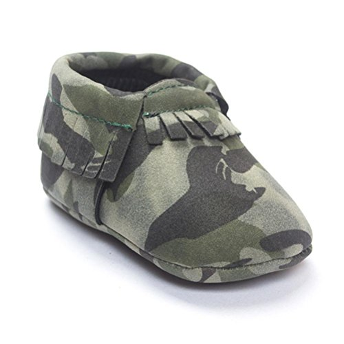 Voberry® Baby Girls Soft soled Tassel Bowknots Crib Shoes Moccasins (12~18 Month, Army Green)