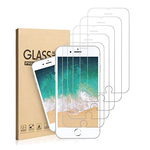 EasySo [5 Pack] Screen Protector for iPhone 8/ iPhone 7/ iPhone 6S/ iPhone 6, Tempered Glass Screen Protector 4.7 Inch, 3D Touch, Case Friendly, Bubble Free, - Iphone Break Anti Screen 6