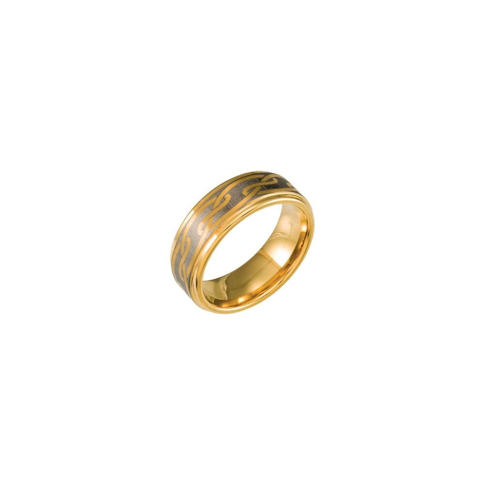 Tungsten & Gold Immersion Plated 8.3mm Ridged Band Size 11.5, Ring Size 11.5