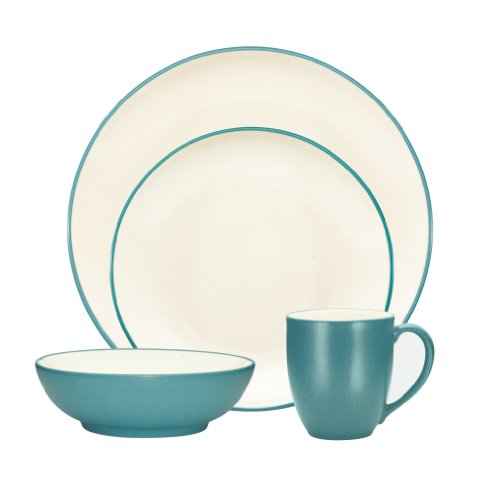 (Noritake Colorwave Turquoise 4-Piece Place Setting, Coupe Shape)
