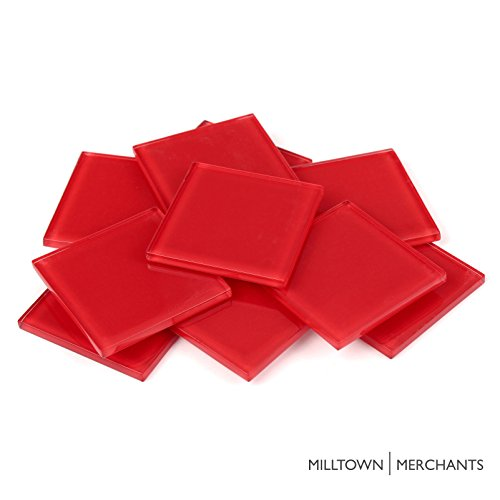 Milltown Merchants™ 1.8 Inch (48mm) Red Crystal Mosaic Tile - Bulk Glass Mosaic Tiles - 1 Pound (16 oz) Crystal Tile Assortment For Backsplash, Murals, Stepping Stones, and Mosaics ()