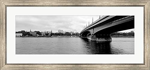 Kennedy Bridge on Rhine River, Bonn, North Rhine Westphalia, Germany by Panoramic Images Framed Art Print Wall Picture, Silver Scoop Frame, 41 x 19 inches (River Framed Rhine)