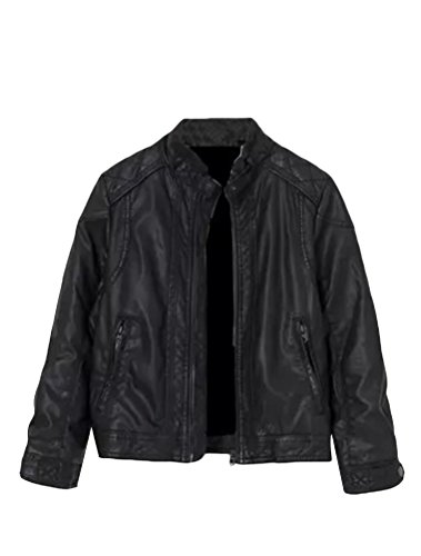 Mallimoda Boy's Trendy Stand-Collar PU Leather Moto Jacket Zip Coat Black 2-3 Years (Pu Solid Stand Collar)