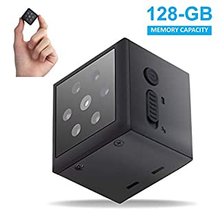 PIKOOO Mini Camera Small Nanny Camera with Night Vision Motion Detection - Wireless for Indoor Outdoor Use - 1080P HD- No WiFi Required -Security for Home or Business Support up to 128GB Memory Card