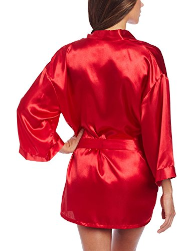 (PiterNace Sexy;cozy Women's Shalimar Charmeuse Babydoll with Robe and Padded Hanger, Red, Small)