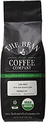 The Bean Coffee Company Organic Latin Blend, Medium Roast, Ground, 16-Ounce Bag